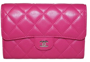 Chanel Chanel Pink Quilted Lambskin Leather Classic Flap Wallet