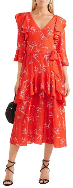 Item - Red Aiana Ruffled Printed Long Cocktail Dress Size 2 (XS)