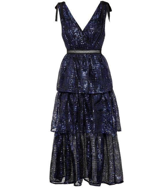 Item - Blue Sequin Embroidered Mid-length Cocktail Dress Size 6 (S)