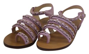 Chanel Suede Gladiator Chain Orchid Sandals