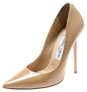 Jimmy Choo Leather Patent Leather Pointed Toe Beige Pumps