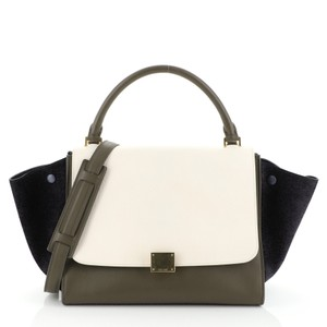 Céline Satchel in green, white and black l