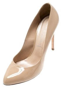 Casadei Patent Leather Leather Pointed Toe Beige Pumps