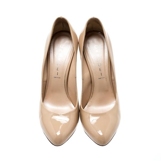 Casadei Patent Leather Leather Pointed Toe Beige Pumps Image 1