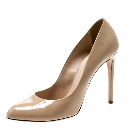 Casadei Patent Leather Leather Pointed Toe Beige Pumps Image 3
