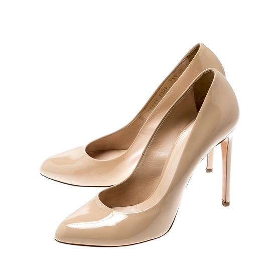 Casadei Patent Leather Leather Pointed Toe Beige Pumps Image 4