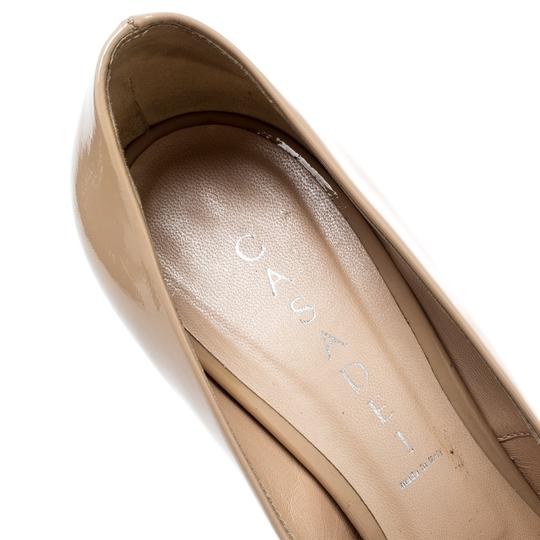 Casadei Patent Leather Leather Pointed Toe Beige Pumps Image 5