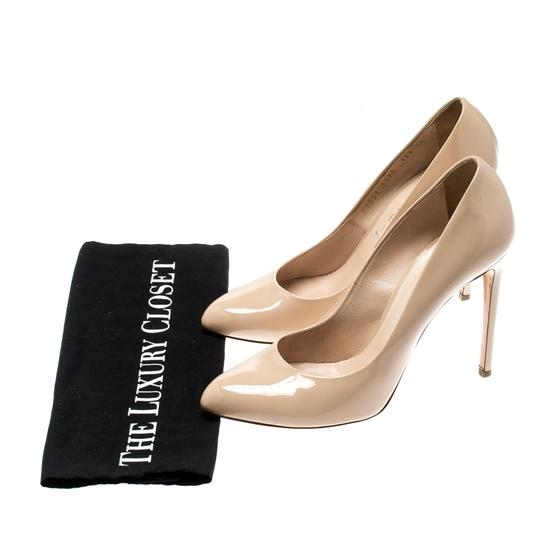 Casadei Patent Leather Leather Pointed Toe Beige Pumps Image 7
