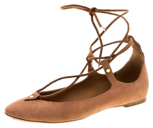 Chloé Suede Ballet Leather Brown Flats