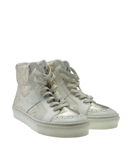 Louis Vuitton Sneakers Leather WhitexSilver Flats Image 1