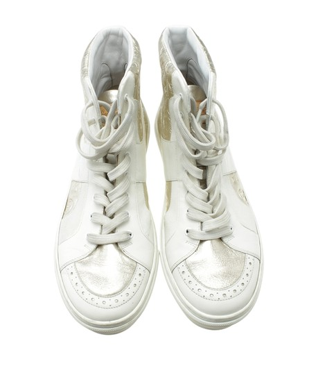 Louis Vuitton Sneakers Leather WhitexSilver Flats Image 4