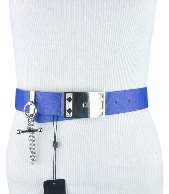 Item - Blue Bcbg Hip Toggle Silver Toned Chain Size Small Hip Belt