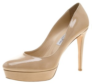Jimmy Choo Patent Leather Platform Leather Beige Pumps