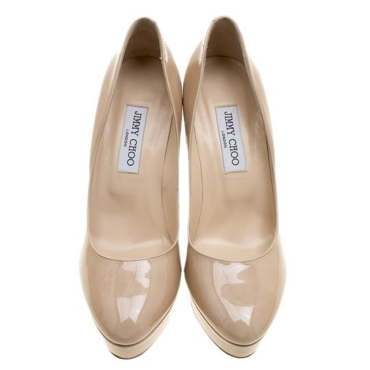 Jimmy Choo Patent Leather Platform Leather Beige Pumps Image 1