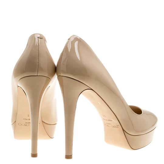Jimmy Choo Patent Leather Platform Leather Beige Pumps Image 2