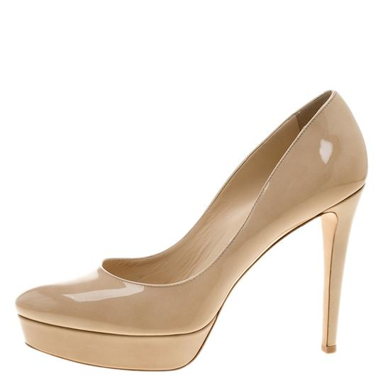 Jimmy Choo Patent Leather Platform Leather Beige Pumps Image 3