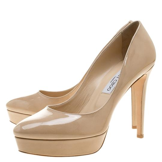 Jimmy Choo Patent Leather Platform Leather Beige Pumps Image 4