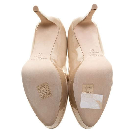 Jimmy Choo Patent Leather Platform Leather Beige Pumps Image 5