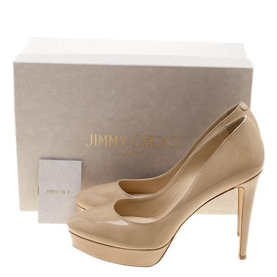 Jimmy Choo Patent Leather Platform Leather Beige Pumps Image 7