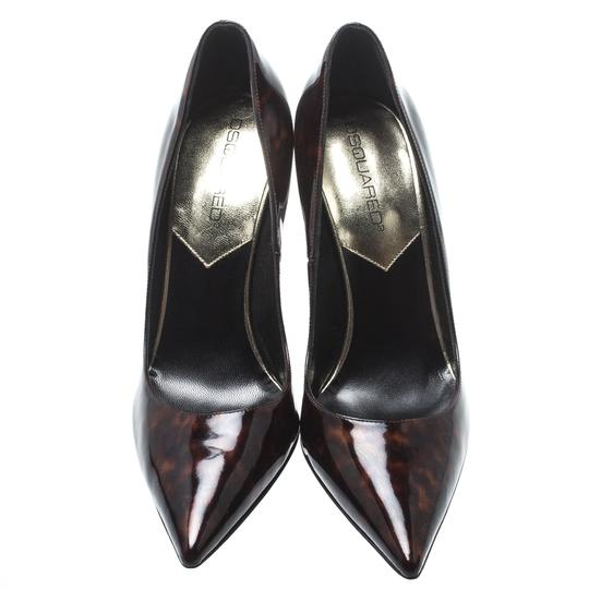 Dsquared2 Patent Leather Pointed Toe Leather Brown Pumps Image 1