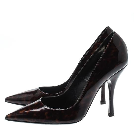 Dsquared2 Patent Leather Pointed Toe Leather Brown Pumps Image 3