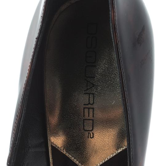 Dsquared2 Patent Leather Pointed Toe Leather Brown Pumps Image 6