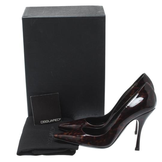Dsquared2 Patent Leather Pointed Toe Leather Brown Pumps Image 7
