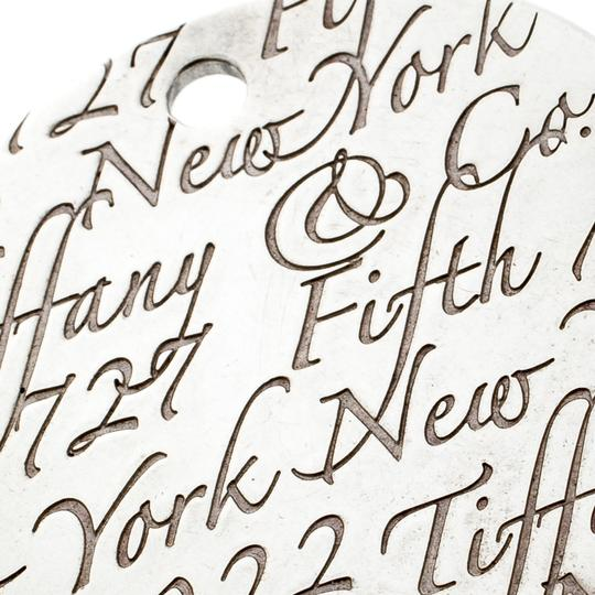 Tiffany & Co. Notes Fifth Avenue New York Engraved Circular Silver Pendant Charm Image 2