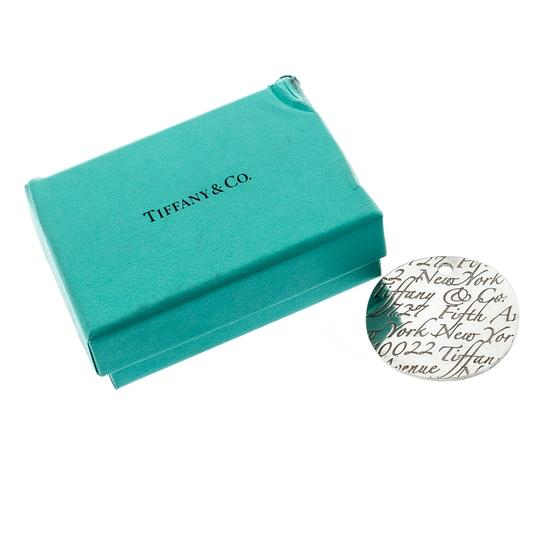 Tiffany & Co. Notes Fifth Avenue New York Engraved Circular Silver Pendant Charm Image 4