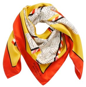 Burberry Burberry Yellow London Map Silk Square Scarf