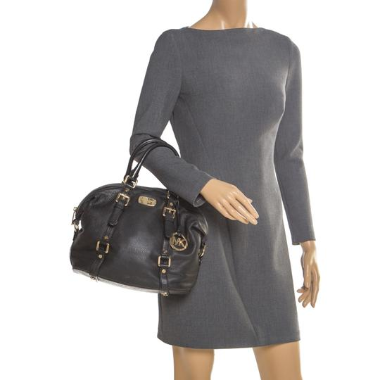 Michael Kors Leather Fabric Satchel in Black Image 2