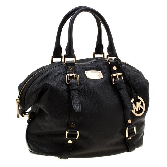Michael Kors Leather Fabric Satchel in Black Image 4