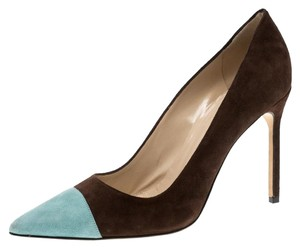 Manolo Blahnik Suede Pointed Toe Leather Brown Pumps