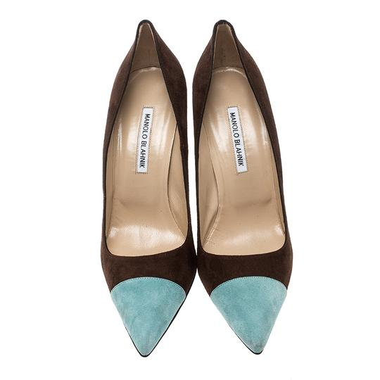 Manolo Blahnik Suede Pointed Toe Leather Brown Pumps Image 1