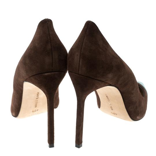 Manolo Blahnik Suede Pointed Toe Leather Brown Pumps Image 2