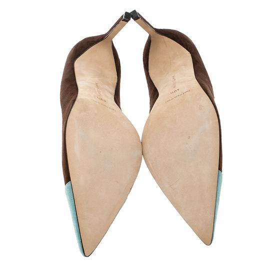 Manolo Blahnik Suede Pointed Toe Leather Brown Pumps Image 3
