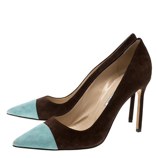 Manolo Blahnik Suede Pointed Toe Leather Brown Pumps Image 4
