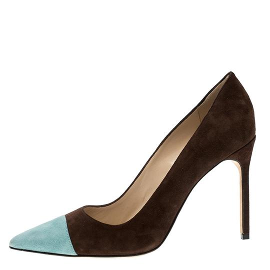 Manolo Blahnik Suede Pointed Toe Leather Brown Pumps Image 5