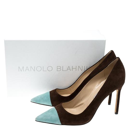 Manolo Blahnik Suede Pointed Toe Leather Brown Pumps Image 7