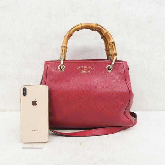 Gucci Bamboo Shopper Calfskin Small Satchel in Red Image 1