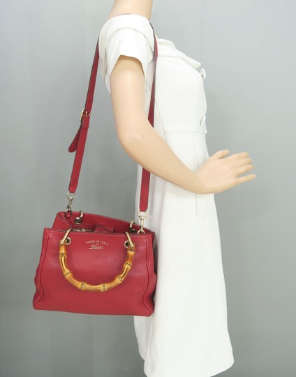 Gucci Bamboo Shopper Calfskin Small Satchel in Red Image 11