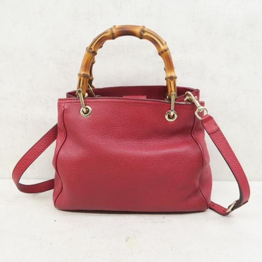 Gucci Bamboo Shopper Calfskin Small Satchel in Red Image 2