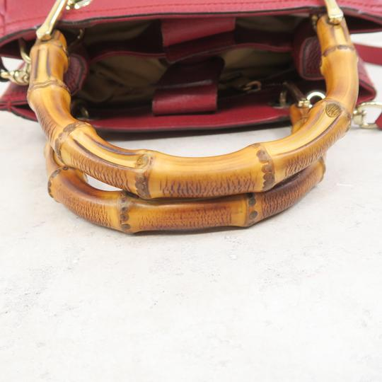 Gucci Bamboo Shopper Calfskin Small Satchel in Red Image 5
