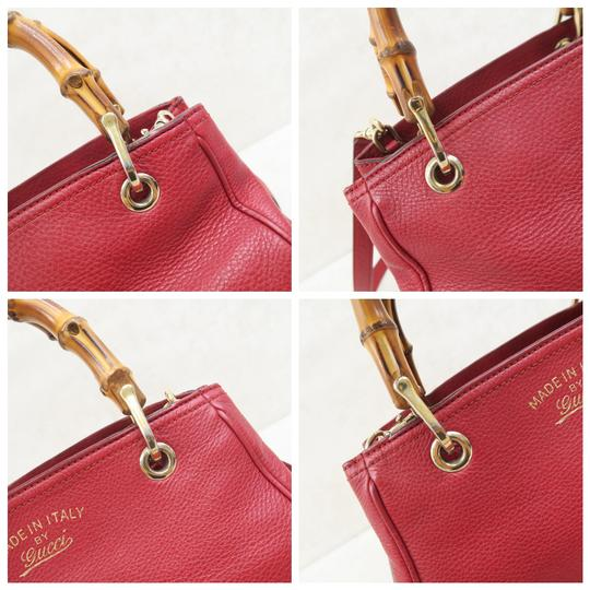 Gucci Bamboo Shopper Calfskin Small Satchel in Red Image 7