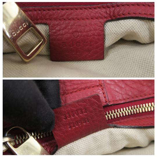 Gucci Bamboo Shopper Calfskin Small Satchel in Red Image 9