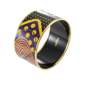 Hermès Hermes Extra Wide Bangle Bracelet Printed Enamel Pattern with Pouch