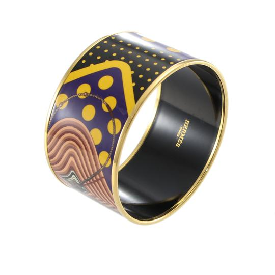 Preload https://img-static.tradesy.com/item/26197176/hermes-yellow-black-purple-extra-wide-bangle-printed-enamel-pattern-with-pouch-bracelet-0-0-540-540.jpg