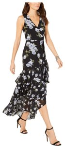 INC International Concepts short dress Black with Blue Flowers on Tradesy