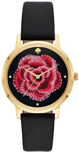 Kate Spade New York Kate Spade New York Women's metro floral black leather watch KSW1459