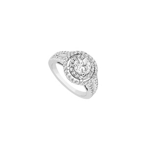 Marco B 14K White Gold Engagement Ring with CZ of 1.25 Carat Total Gem Weight